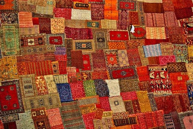 Patchworks of Carpets in Marrakech, Morocco
