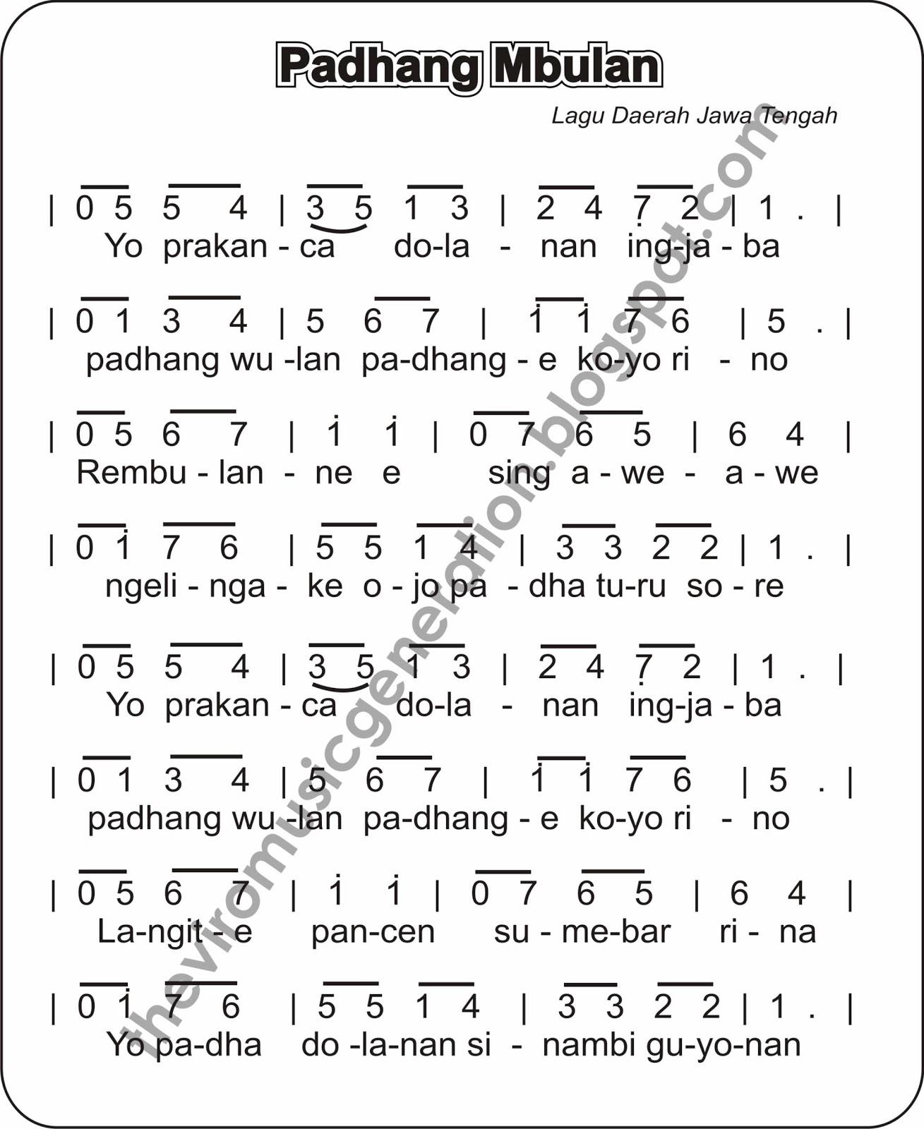 """Notasi Lagu Daerah """" Padhang Mbulan"""""""
