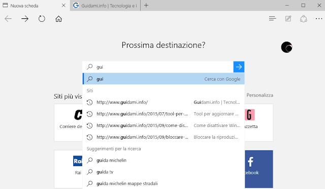 Mostra suggerimenti per la ricerca durante la digitazione Microsoft Edge