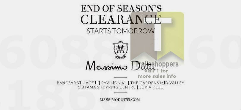 Massimo Dutti End of Season Clearance Bangsar Village II Pavilion KL Suria KLCC The Gardens Mid Valley 1 Utama Shopping Centre