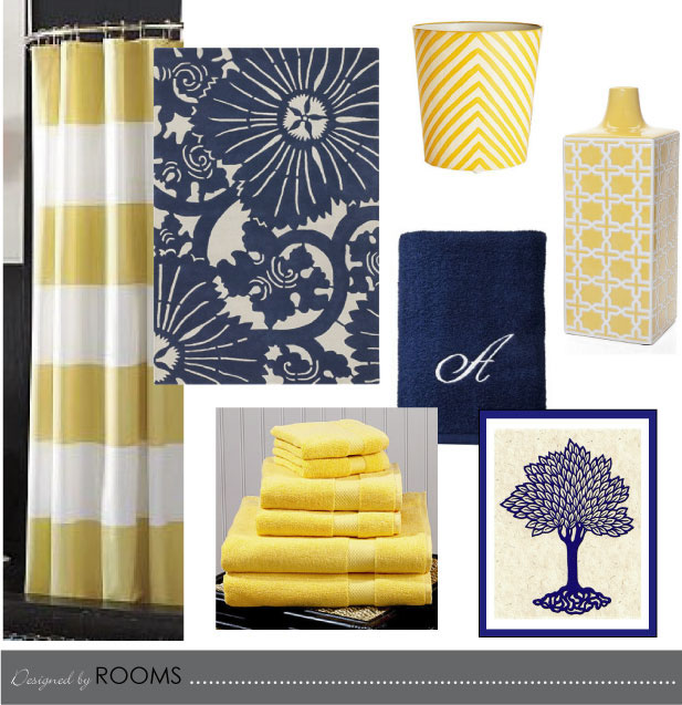 navy and yellow bathroom design
