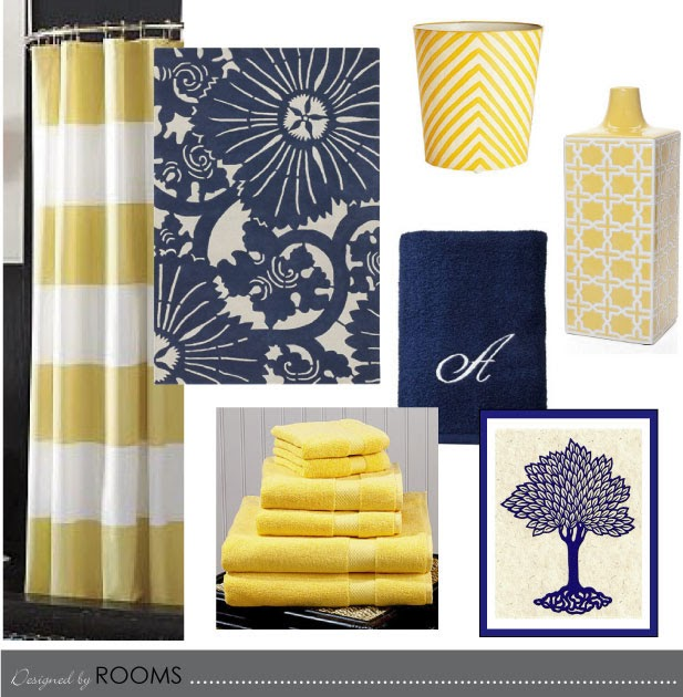 Rooms navy and yellow bathroom design for Yellow and blue bathroom accessories
