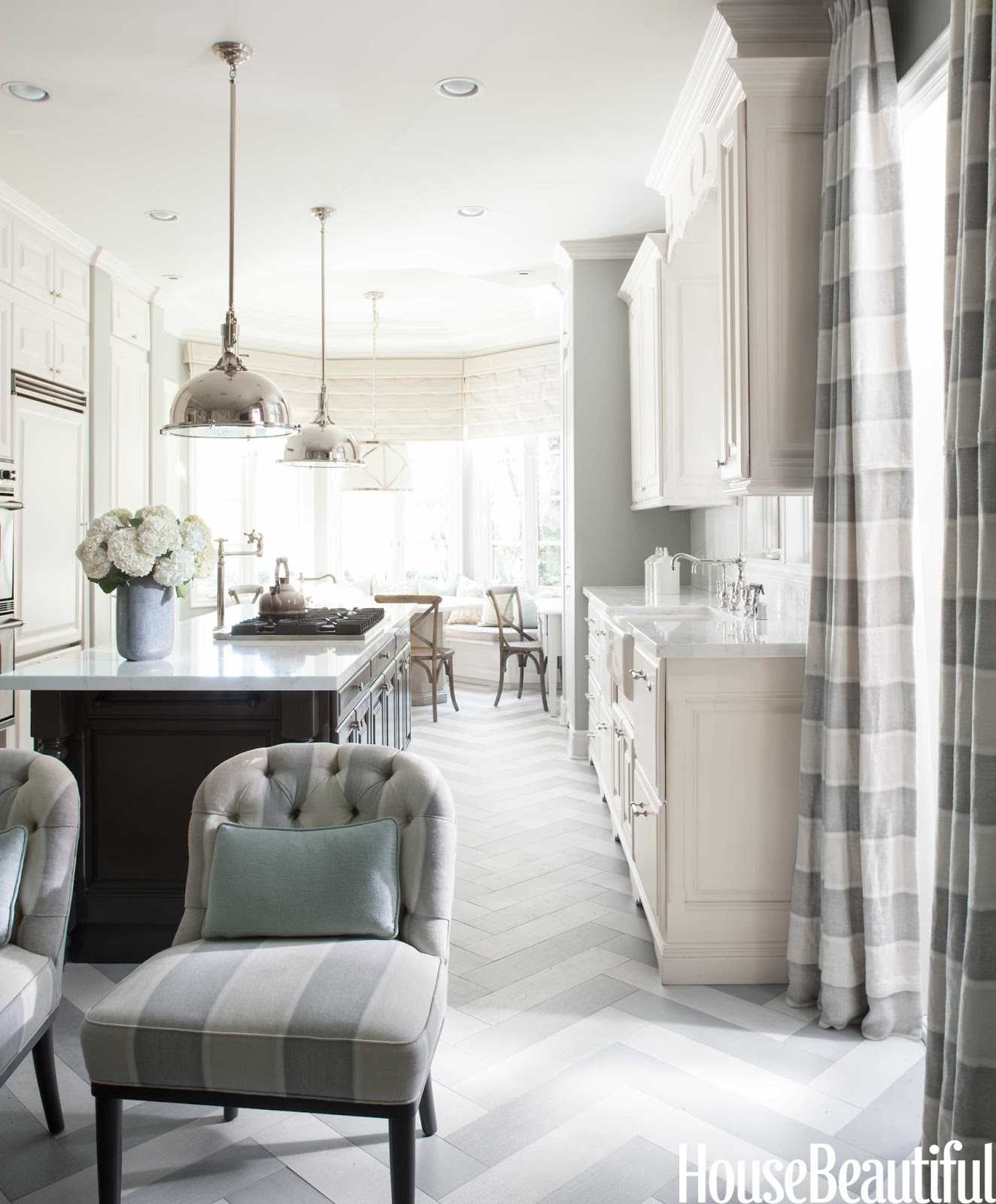 Designer mary mcdonald cleanses the color palette house for Grey and white country kitchen