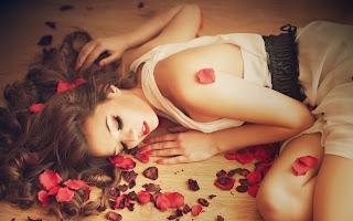Awesome Girl Rose Petals Beautiful HD Wallpaper
