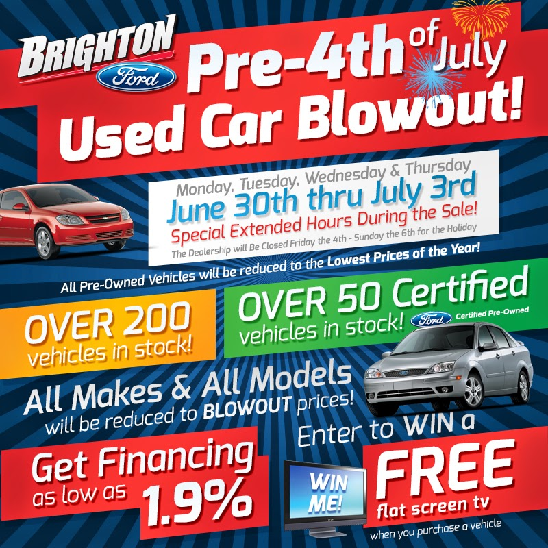 Brighton Ford's Pre-4th of July Used Car Blowout!