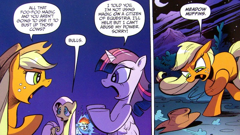 Applejack arguing with Twilight
