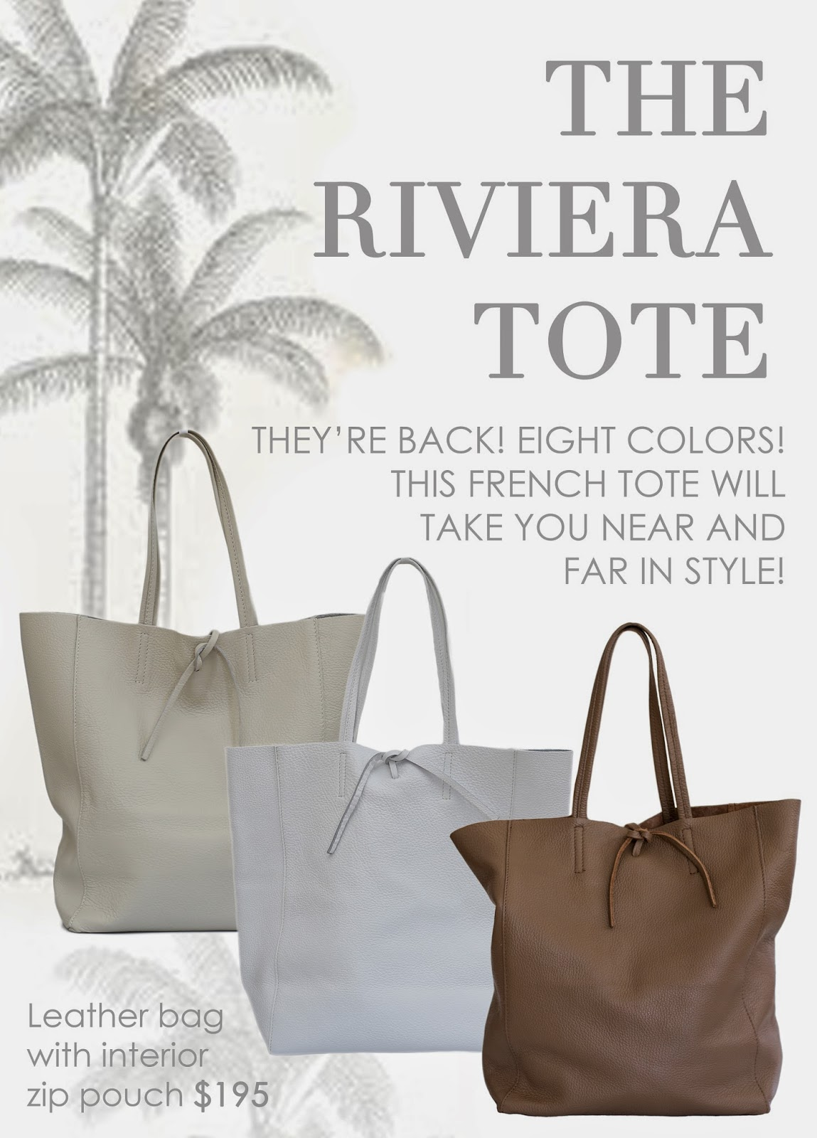 Black, ivory or dark brown Riviera Tote available again at Maison K Santa Barbara