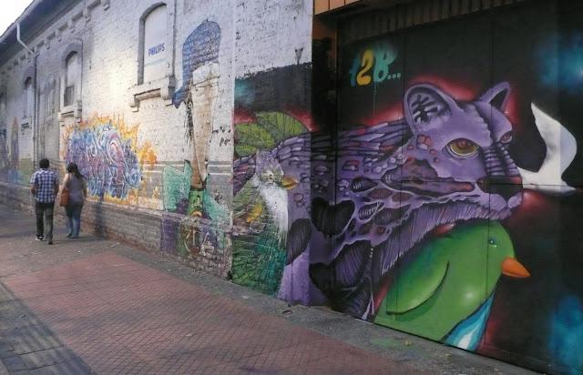 graffiti street art in bellavista, santiago de chile