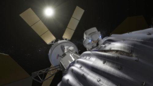 Astronauta explorando asteroide