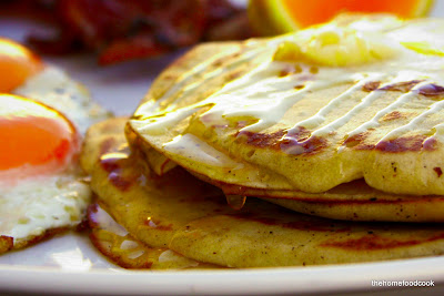 thehomefoodcook - What&#39;s for Breakfast? Bacon &amp; Eggs Pancake Stack!