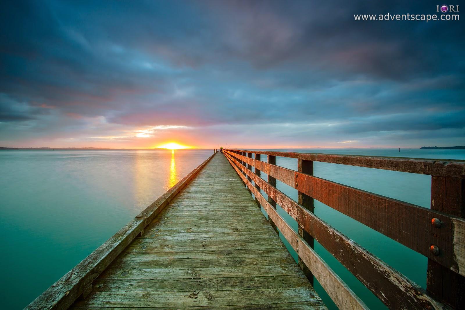 Philip Avellana, iori, adventscape, Cornwallis, jetty, seascape, landscape, North Island, New Zealand, fine art, sunrise, glare
