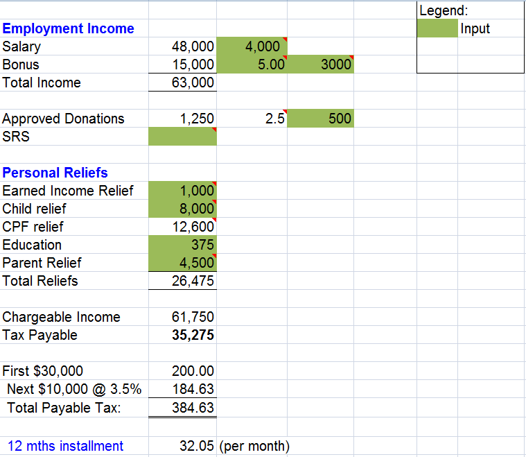 Singapore IRAS Income Tax Calculator  Excel Investment
