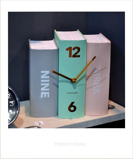 pastel book clock
