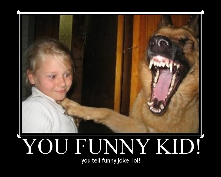 Mot and Demot Posters Funny-kid-tells-joke-to-dog
