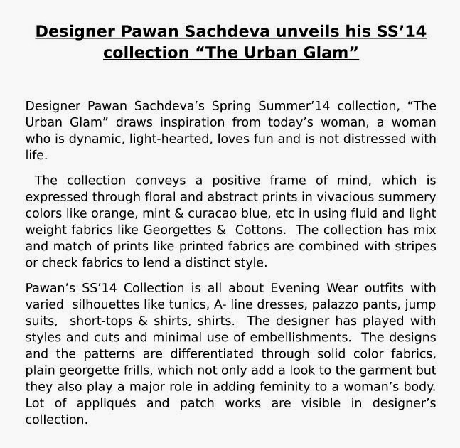 Pawan Sachdeva SS 14 The Urban Glam