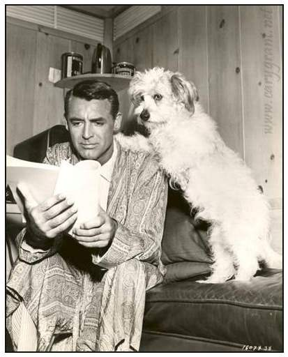 Cary Grant reading before