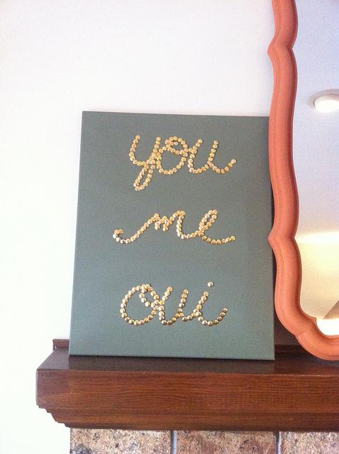 gold thumbtack art diy
