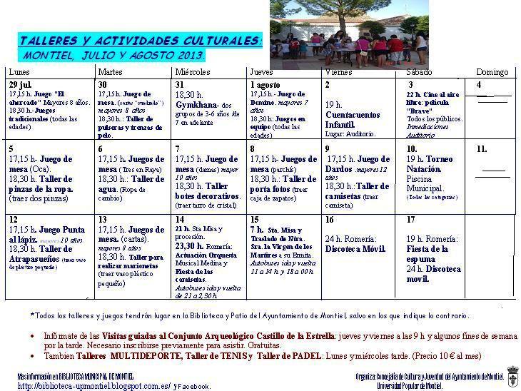 UNIVERSIDAD POPULAR DE MONTIEL: Actividades para todos este verano ...
