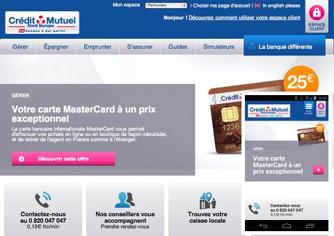 Capture d'écran (PC + smartphone) de la page d'accueil Crédit Mutuel Nord Europe