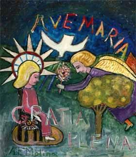 Cuadro con leyenda Avemaria Gratia Plena, la Virgen, S. José, una paloma y un árbol
