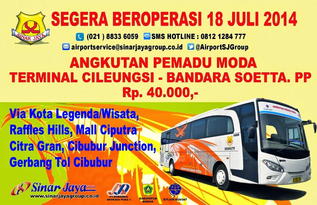 Shuttle Bus Sinar Jaya Jurusan Cileungsi - Bandara Sukarno - Hatta