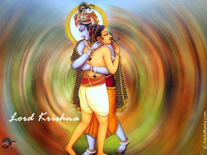 Lord Krishna hugging his friend Sudaama photo
