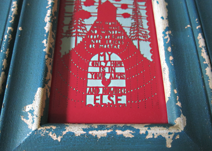 framed Rob Ryan paper cut art