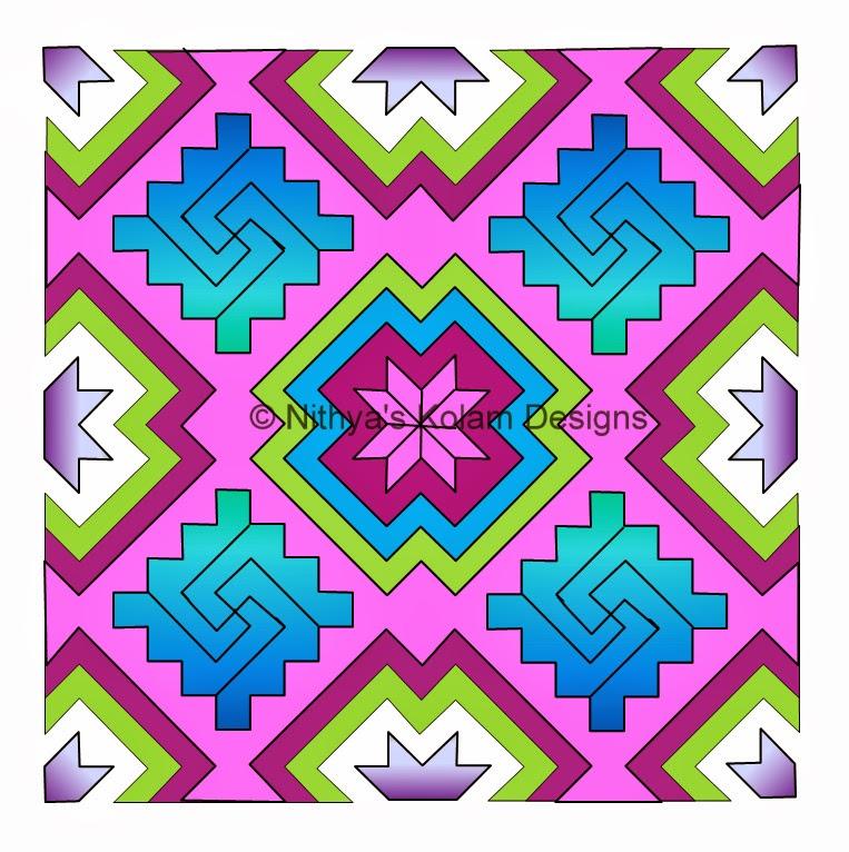 Kolam 105: Lines Kolam 23 to 23 dots