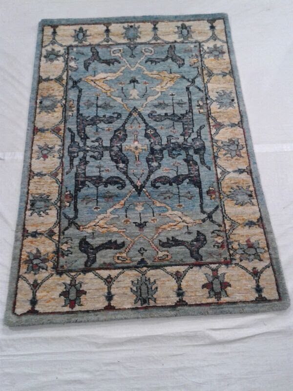 hand-knotted sari silk rug