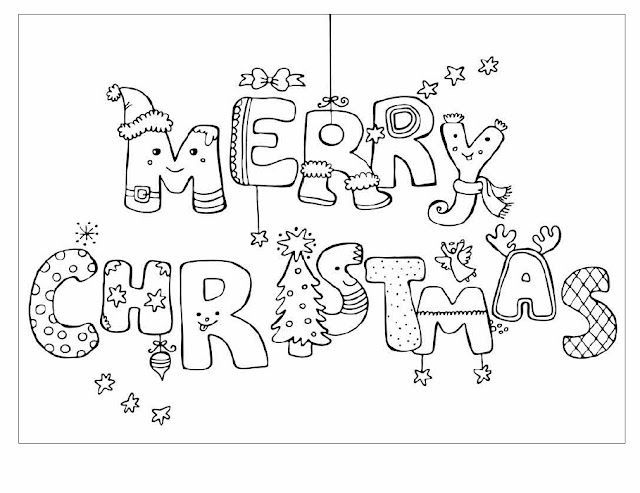 Coloring Pages of Merry Christmas Greeting Card