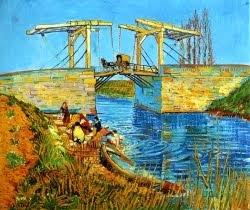 A ponte de Langlois, perto de arles com lavadeiras