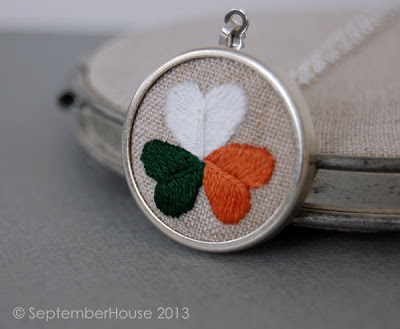 Irish flag shamrock necklace hand embroidered