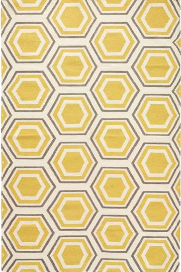 Copy Cat Chic: Jill Rosenwald Fallon Hex Yellow Hand Woven Rug