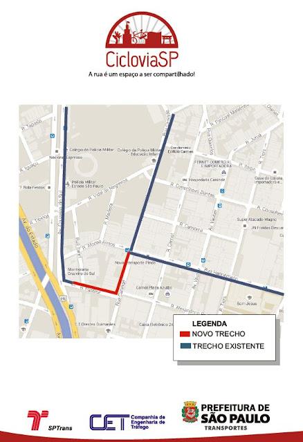 Ciclovia ruas Canindé e Pasteur
