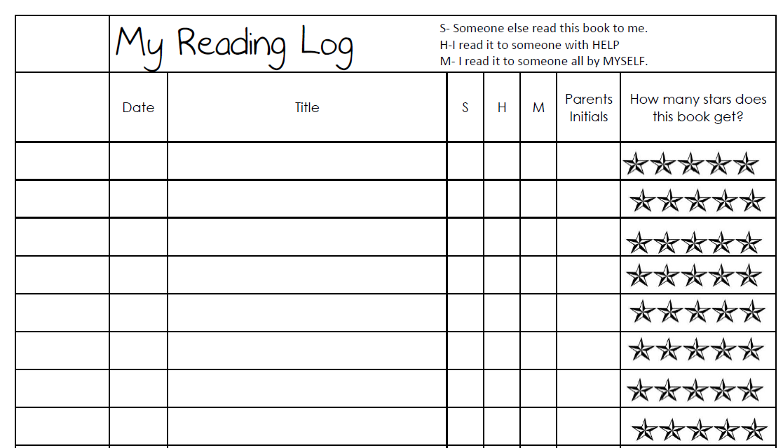 Blank Reading Calendar : Our cool school my first reading log