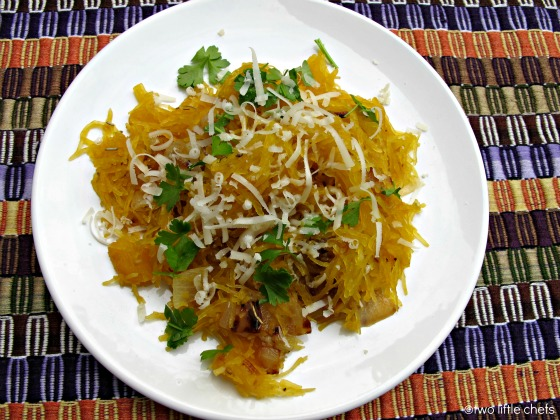 two little chefs: Roasted Spaghetti Squash with Parmesan and Herbs
