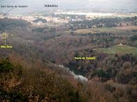 Vistes del pantà i de la població de Taradell des del Castell de Boix