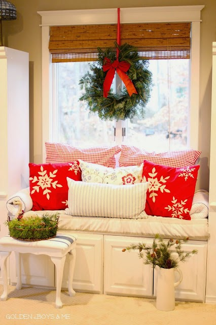 Window seat with wreath and christmas decor in master bedroom-www.goldenboysandme.com