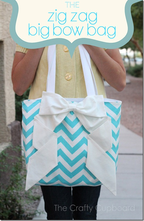 big bow on chevron bag sewing tutorial
