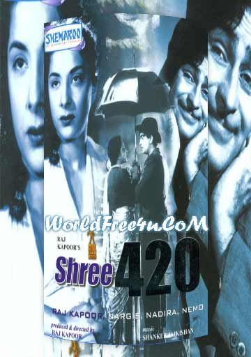 Poster Of Bollywood Movie Shree 420 (1955) 300MB Compressed Small Size Pc Movie Free Download worldfree4u.com