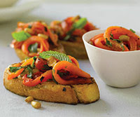 Roasted Red Pepper Crostini with Balsamic Reduction
