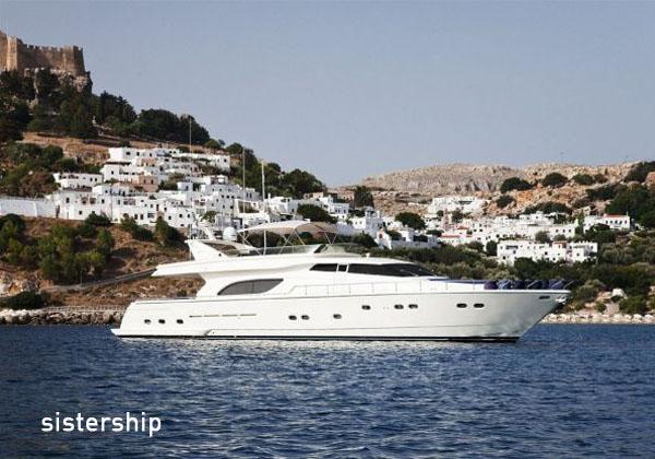 Ferretti 80 at anchor