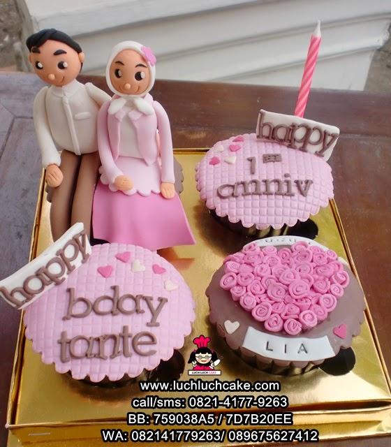 Cupcake Anniversary Cantik Tema Pink Daerah Surabaya - Sidoarjo