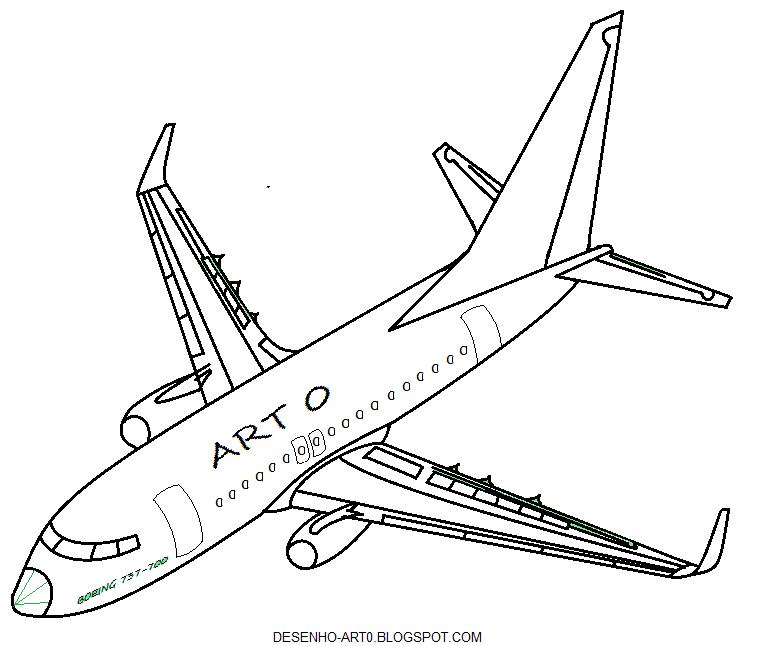 desenho art 0 avião para colorir