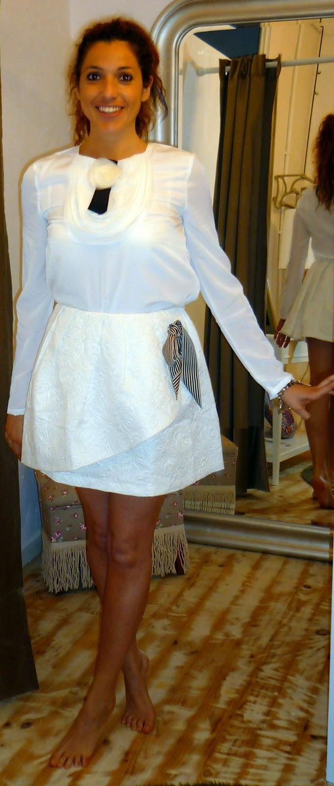 falda blanca acolchada