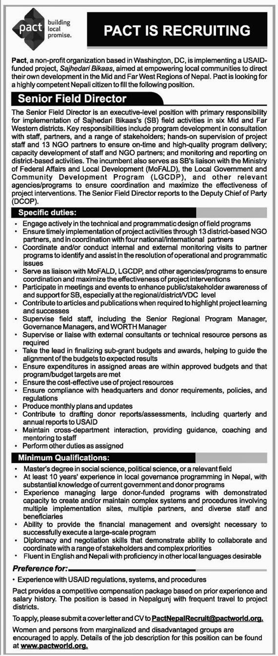 Vacancy announcement: Pact, a non-profit organization based in