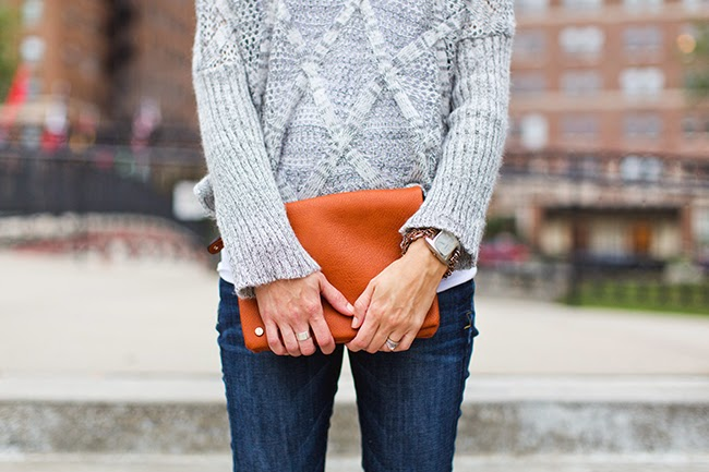 Cognac clutch, gray sweater, dark denim