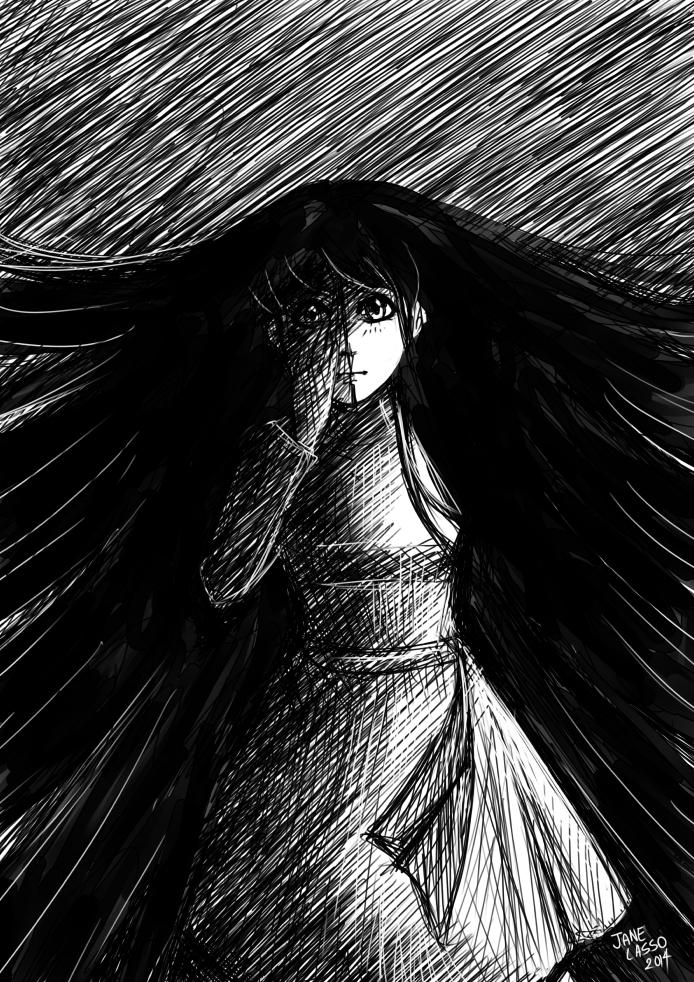 Dibujo de chica en blanco y negro