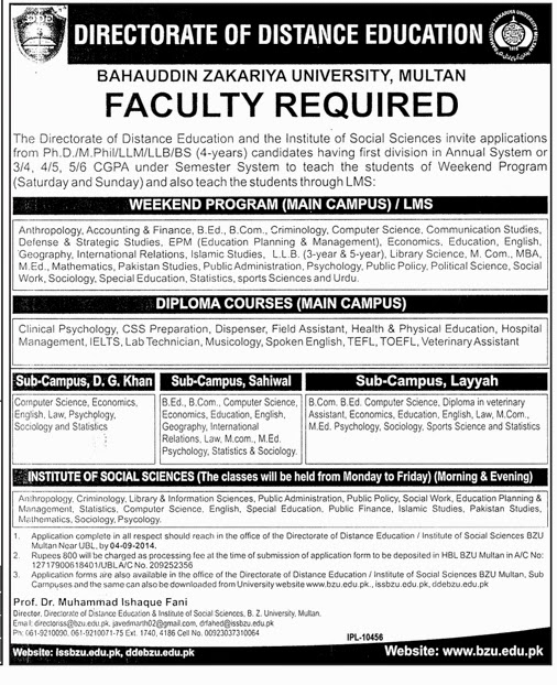 Required Lecturers in Bahauddin Zakariya University, Multan