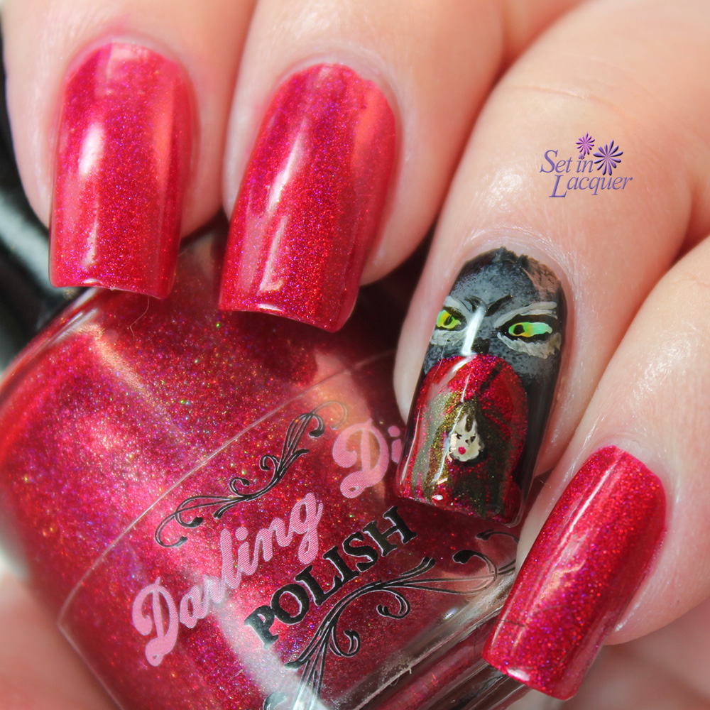 The Big Bad Wolf and Little Red Riding Hood Nail Art with a glossy top coat